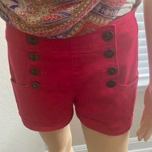 Womens Red Express Buttoned Shorts Sz 4